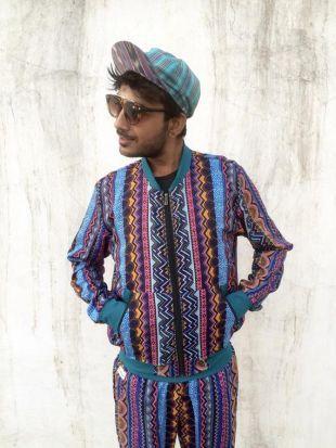Jacquier Jack It (tailles hommes & femmes)   Blue Jungle Fever   Bomber veste unisexe fou motif aztèque rétro Festival hippie des années 80 Fresh Prince