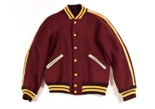 50 s bowling veste Varsity petit blouson Letterman laine marron & jaune Vintage bol A Drome homme