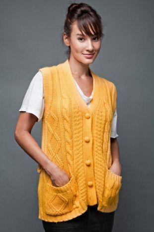 Vintage des années 70 gilet cardigan pull jaune câble tricot unique taille surdimensionnée, plus de taille moyenne grande XL 2 X 3 x