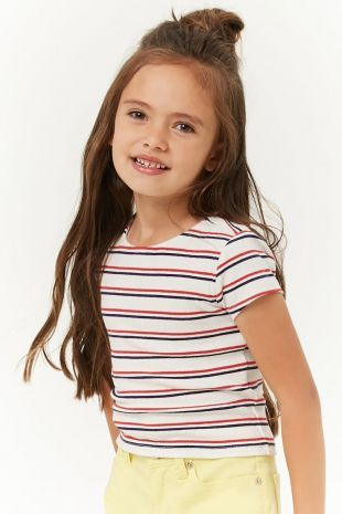 Girls Ribbed Stripe Tee | Forever 21