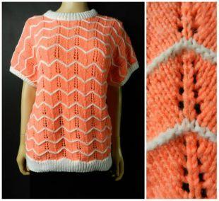 VENTE des années 60 70 ' s coral chevron acrylique rose + blanc zig zag tricotés en court à manches longues gilet pull M ~ L