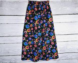 Maxi folk jupe,Longue Jupe aux fleurs, jupe noire, folklor fleurs,