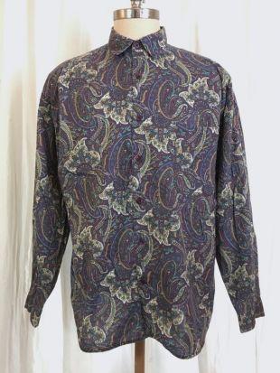 Vintage Paisley impression fin des années 80 pour homme chemise, Structure, violet avec turquoise et jaune ocre, quelques pertes, marqué XL