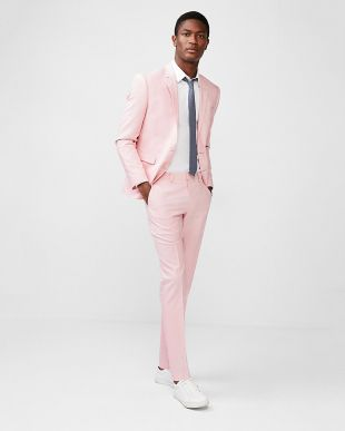 Express Extra Slim Pink Striped Cotton Blend Textured Suit Pant