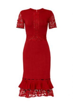 Sachin & Babi Lace Ruffle Hem Dress