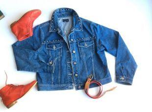 Veste en Jean Baccini 1980 ' s. Clouté veste en jean 100 % coton résistant. Veste en Jean bleu avec paquets avant. Fabriqué à Hong Kong.