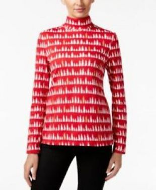 Charter Club Women's Tree Print Turtleneck Knit Top New Red Amore White Size XL | eBay