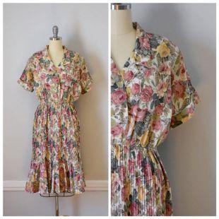 Vintage des années 70 plissée robe de jour