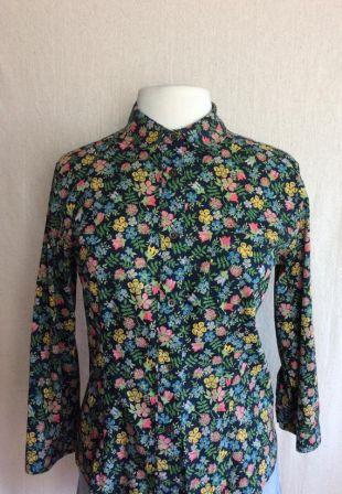 Chemisier vintage de fleurs sauvages / / 90 ' s Ted Baker Designer floral chemise coton hippie boho boho fougère fleur bouton en haut jusqu'à oxford Large