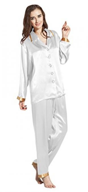 LilySilk Women's Long Silk Pajamas Set Gold Cuff Soft Luxury Ladies Sleepwear 22 Momme Real Mulberry Silk White Size 0-2/XS