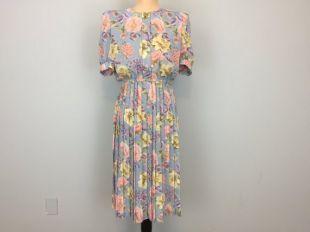 Robe en mousseline de soie fleurie à manches courtes Midi léger bleu rose plissé élastique à la taille moyenne Petite robe taille 10 Petite Womens Vintage Clothing