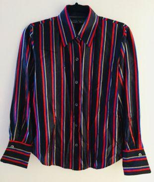 Taille 6P, 90 s Vintage Vertical bleu, rouge et Beige rayé chemisier en soie, Linda Allard par Ellen Tracy