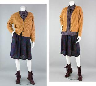 80 s Cardigan moutarde dorée Vintage, Chunky Cable pull en tricot, secrétaire bouton Down Cardigan, petite des femmes
