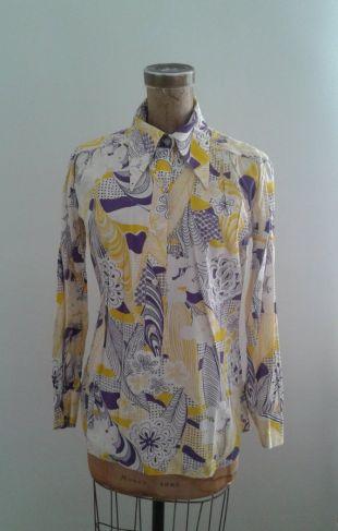 Vintage des années 1970 psychédélique Mae Laura coton jaune violet imprimé Floral Blouse Sz Med grand Hippie