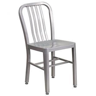 Flash Furniture Silver Metal Indoor-Outdoor Chair