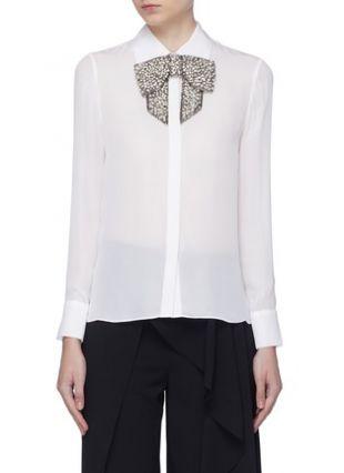 'Willa' detachable embellished bow silk shirt