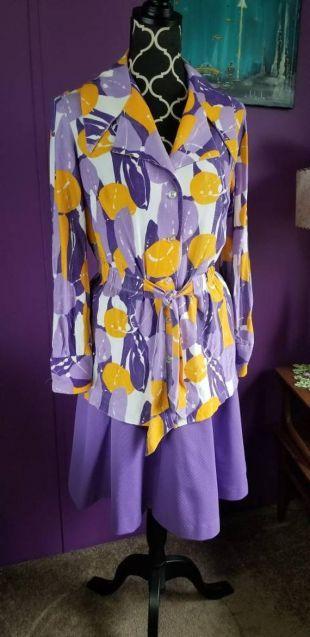 Vintage des années 70 violet jaune & blanc Blouse abstrait impression Peplum haut taille Medium   Large