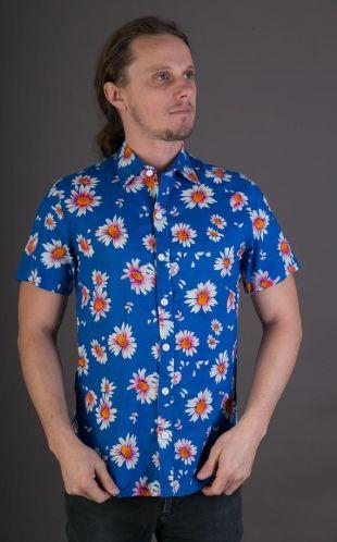 Pour homme 100 % coton Slim Fit chemise à manches courtes imprimé fleurs bleues