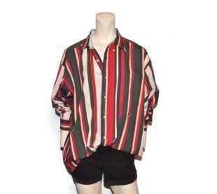 Des hommes Vintage bouton vers le bas de la chemise Oxford Tommy Hilfiger rayures verticales vert rouge bleu marine jaune à manches longues taille grande coupe décontractée 1990