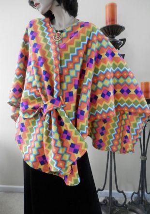 Étole multicolore lumineux géométrique Ruana Wrap/Boho Kimono femmes femmes Cape/Poncho/léger veste/manteau/femmes / Oversize Wrap/dissimulation