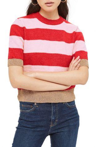 Topshop Metallic Stripe Crop Sweater | Nordstrom