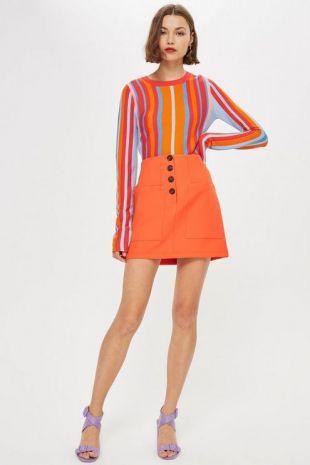Mini jupe boutonnée avec poche