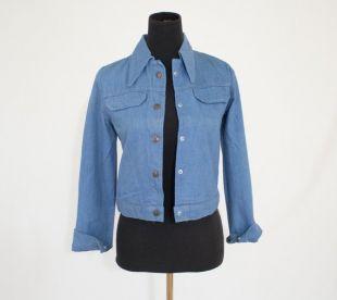 Vintage 70 ' s Womens petit Extra petit recadrée Western Blue Jean Denim Jacket
