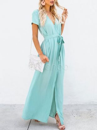 Maxi Wrap Dress Women V Neck Split Short Sleeve Long Summer Dress