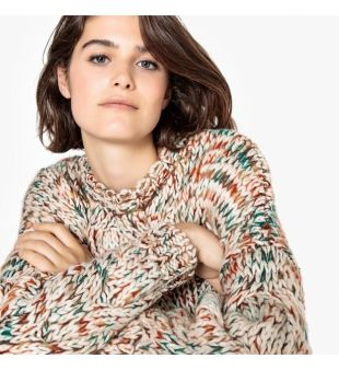 La Redoute Collection Pull col rond grosse maille torsades multicolore