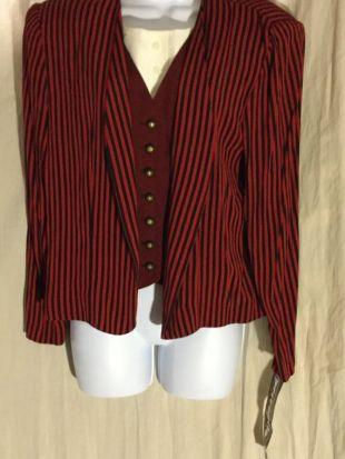 Vintage 80 ' s Black & Red Pined rayée femmes (SZ 10) Blazer / veste nouveau W/Tags avec Faux gilet, Dickie