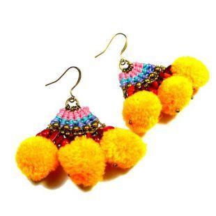 Pom Pom boucles d'oreilles, bijoux d'été colorés jaune