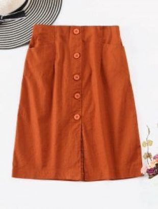 Slit Buttoned A Line Skirt - Light Brown L