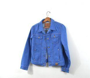 Veste 80 s veste en Jean Denim veste taille moyenne Jean Vintage veste bleu Denim veste Denim manteau femmes