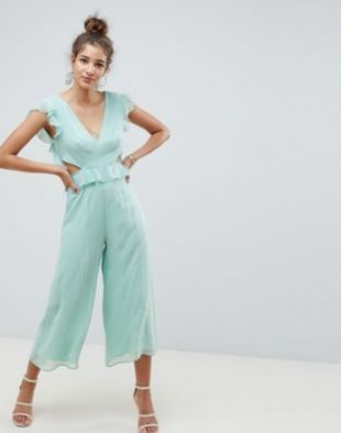 ASOS DESIGN cut out jumpsuit with soft ruffles at asos.com
