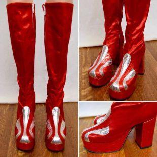 ÉNORME plate forme haut Satin rouge des femmes & argent serpent métallique vintage des années 1970 DiScO David Bowie Rock Star Stomper bottes taille 6,5 / 7