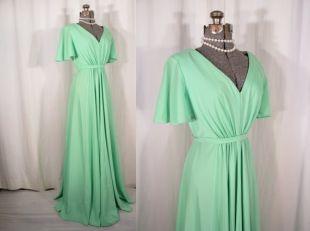 robe des années 1960 | Gunne Sax Style Maxi | Robe Prairie vintage des années 60 en vert menthe