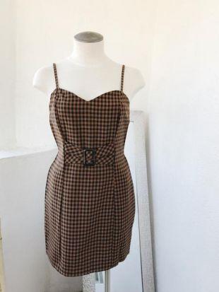 Belle Xo Rose Checkered Dress Brown