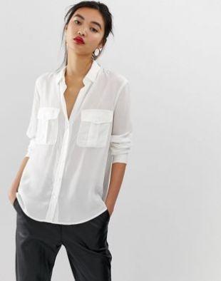 Mango pocket detail white shirt