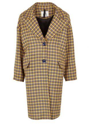 Attic & Barn Manteau oversize col tailleur à carreaux Beige