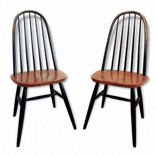 2 chaises Ercol à dossier haut - bois (Matériau) - bois (Couleur) - bon état - scandinave - 75047