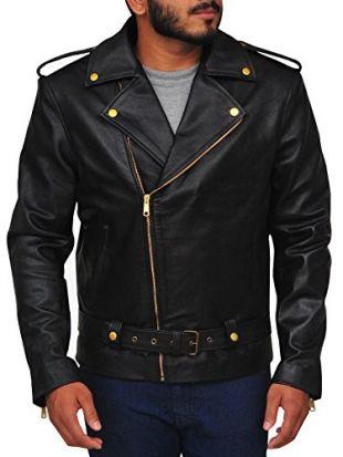 TrendHoop Allaric Men's Motorcycle Premium Natural Buffalo Leather Slim Fit Jacket (Buffalo Black, X-Large)