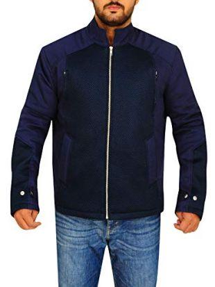 TrendHoop Men's Biker Blue Bomber Style Cotton and Net Jacket (Blue, X-Large)