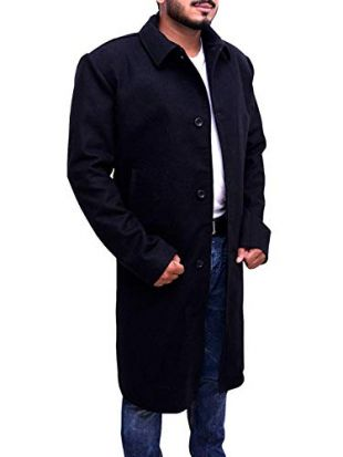 Trendhoop Justified Style Black Wool Long Trench Coat Warm Jacket (X-Large)