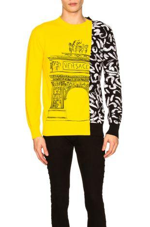 pull versace jaune et noir