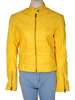 TrendHoop Women Megan Yellow Full Zip Faux Leather Biker Jacket | Medium Size (Medium)