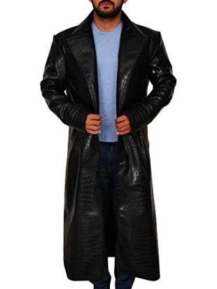 TrendHoop Men Black Aligator Crocodile Embossed Leather Open Style Steampunk Trench Coat (Black, Large)