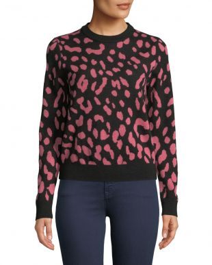 Alice + Olivia Chia Jacquard Leopard Sweater