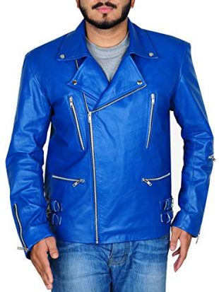 TrendHoop Men's Biker Blue Reckless Quilt Classic Biker Leather Jacket (Blue, Large)
