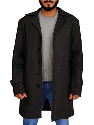 TrendHoop Dark Grey Single Breasted Cotton Trench Long Coat (Dark Grey, XX-Large)