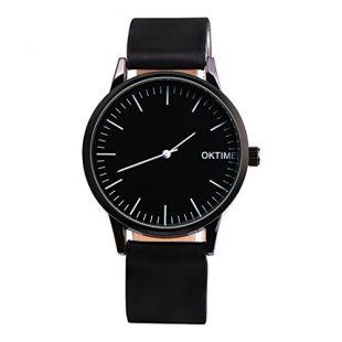 Rainbabe Noir cuir synthétique simple Cadran noir Quartz Analogique Montre-bracelet pour Laydys 15cm